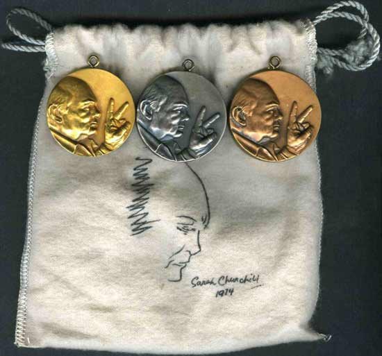 3 Churchill Centenary Pendants in 18ct gold, sterling silver and pure bronze