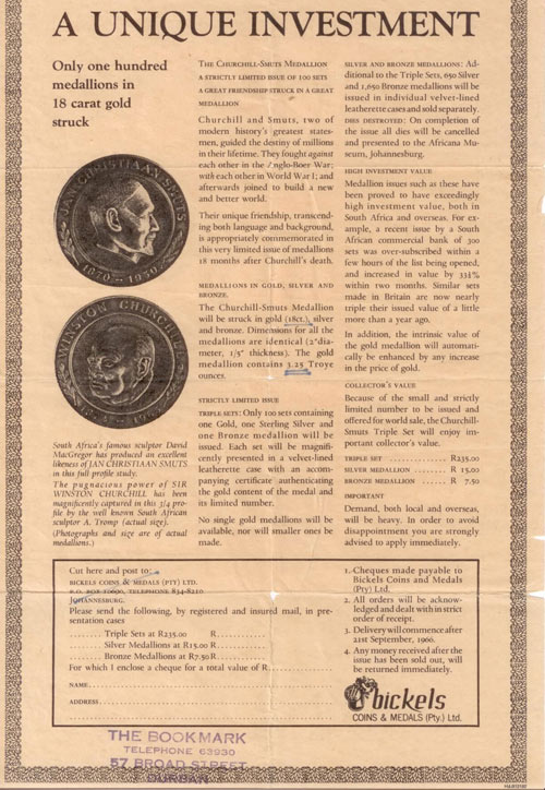 Here's the original form, dated 1966, that  Bickels use to take early orders for this set of coins.