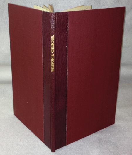 1905 speech by Winston Churchill bound in half morocco binding with cloth sides
