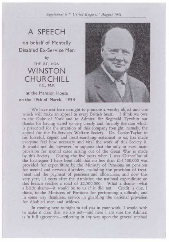 A Speech on Behalf of Mentally Disabled Ex-Service Men by The Rt. Hon. Winston Churchill
