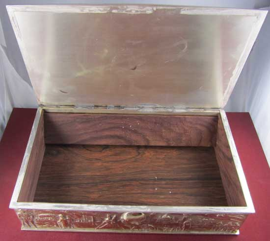 Silver and gilt sculptured cigar box shown here open, from the London silversmith Stuart Devlin