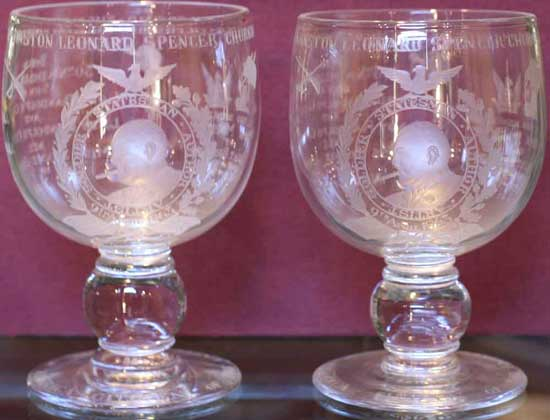 Two goblets from a limited edition of 500: Royal Brierley engraved crystal goblets by Thomas Goode & Co. London 1964.