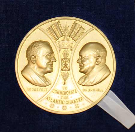 Large gold medal commemorating 25th anniversary of the Atlantic Charter, Churchill's portrait