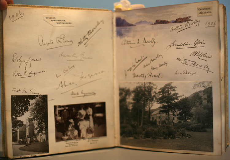 Visitors book belonging to Sir Roger Keyes and his wife Eva. Page open to 1906