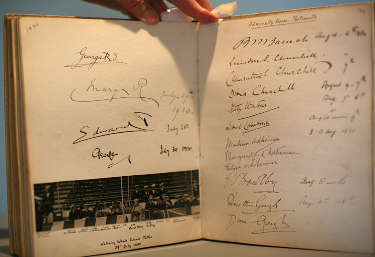 Visitors book belonging to Sir Roger Keyes and his wife Eva. Page open to show Churchill's signature. dated 1930