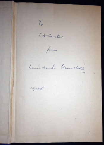 Churchill's signature on ffep, dated 1945