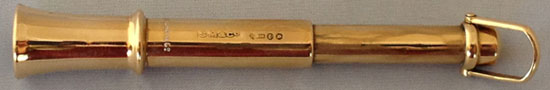 Winston Churchill's Cigar Piercer - engraved W. S. Churchill (Back View showing Hallmarks)