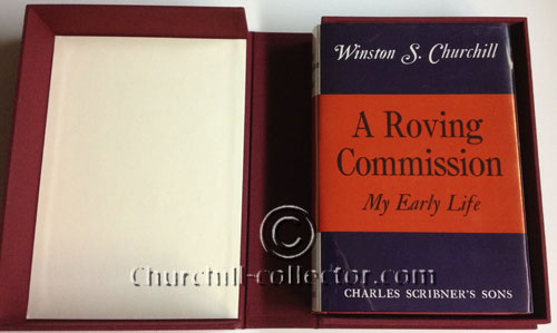 Churchill's first book, A Roving Commission: with reproduction dustjacket