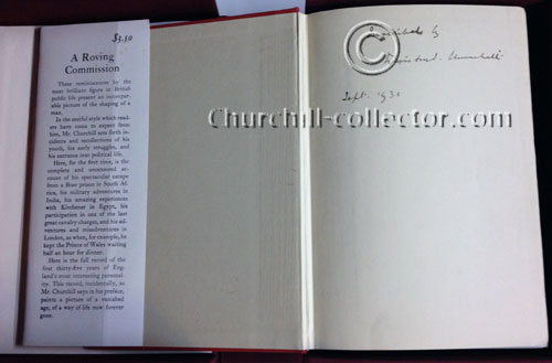 Inside pages of Churchill's first book showing Churchill's signature
