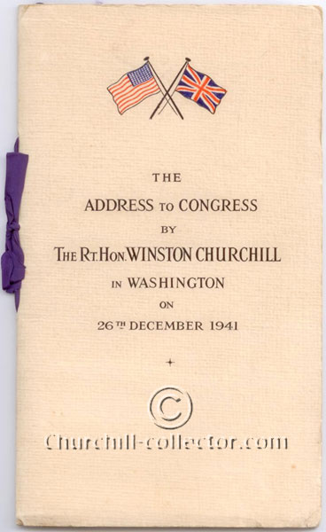 Pamphlet with Churchill's speech of 1941 delivered to US Congress