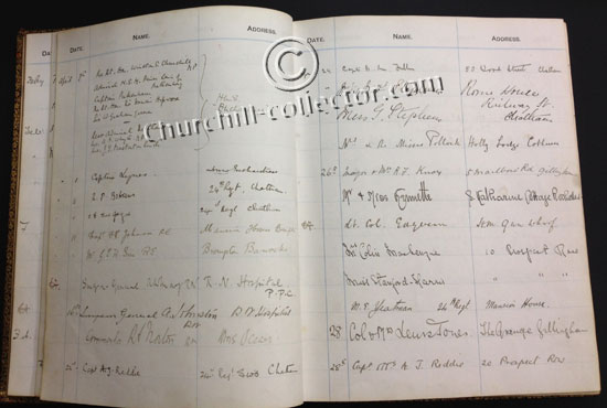 A page from the visitor's book in Churchill's handwriting of 8 names including his