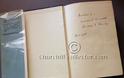 Inner pages of the book, Arms and the Covenant showing Churchill's signature