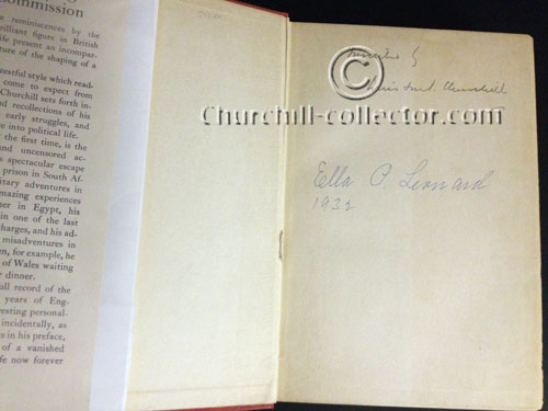 Signature of Winston Churchill on inside page of his book: My Early Life, A Roving Commission