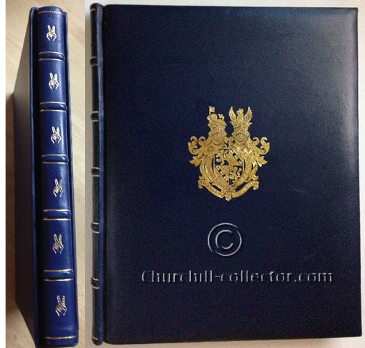 book showing Churchill crest on front cover and spine with V for victory repeated down its length