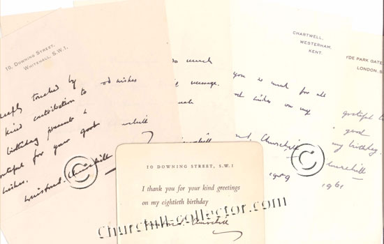 Facsimile letters and postcards from the Churchills