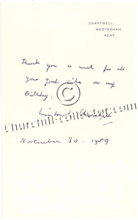 Facsimile letter dated 1950 from Winston Churchill