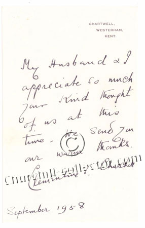 Facsimile letter dated 1958 from Winston Churchill
