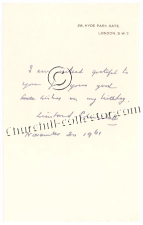 Facsimile letter dated 1961 from Winston Churchill