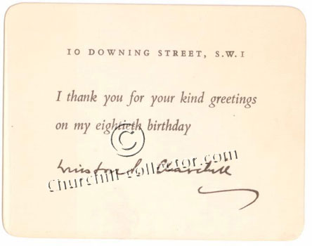 Facsimile postcard from Clementine Churchill