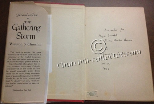 Gathering Storm - The Second World War with the author's signature: Winston Churchill