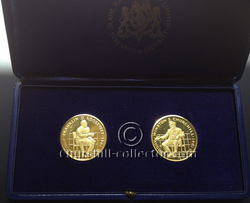 2 Large Gold Medals in presentation case