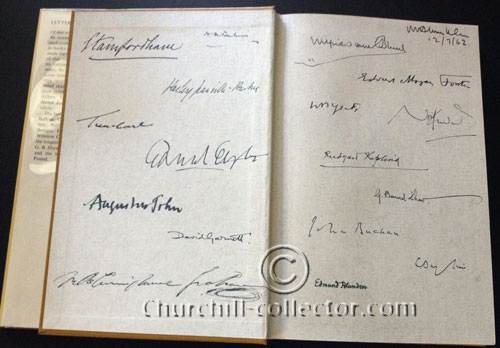 Inner pages of hardcover showing many original signatures, autographs