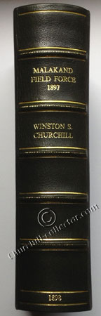 Spine of clamshell bookcase in which Churchill's first book is housed: Malakand Field Force