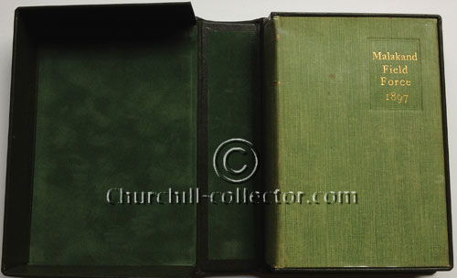 Churchill's first Book, Malakand Field Force shown here in green leather clamshell case