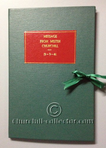 Front cover of green cloth flap case which houses the Churchill broadside