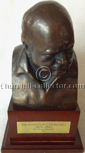 Bronze bust of Winston Churchill by the artist Oscar Nemon