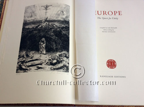 Open book showing frontispiece: Europe, The Quest For Unity with speeches by leading figures of the European Movement
