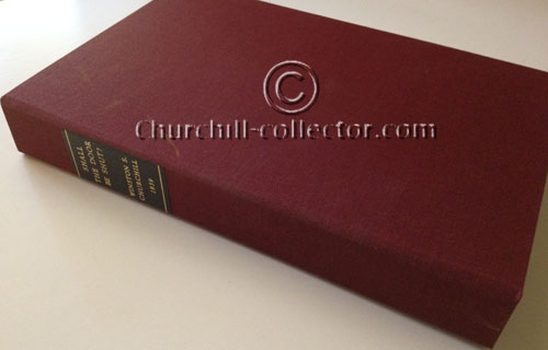 Maroon cloth covered clam-shell box with leather title label protects this rare copy of Churchill's speech: Shall the Door Be Shut