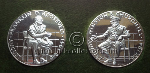 2 Silver Medals commemorating the 25th Anniversary of the signing of the Atlantic Charter by Churchill & Roosevelt