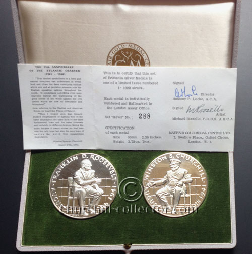 2 Large Silver Medals in presentation case with Certificate of Authenticity