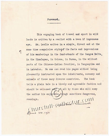Forward written and signed by Winston Churchill
