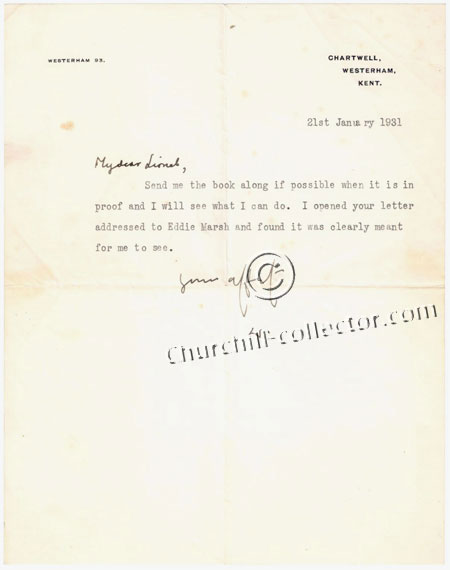 Original letter written and initialed by Winston Churchill
