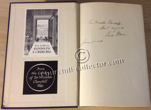 Inside pages showing author's inscription to Churchill plus nameplates of previous owners