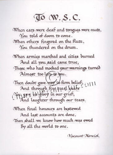 Poem written to Winston Churchill by Viscount Norwich