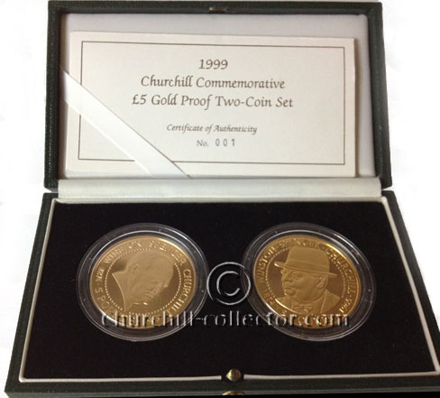 2 gold coins from 1999 featuring Churchill on one side and Queen Elizabeth on the other