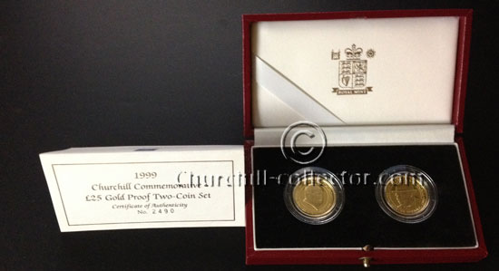 2 gold coins in red presentation box with Certificate of Authenticity
