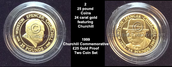 2 gold coins with churchill's head on one side and Queen Elizabeth II on the other
