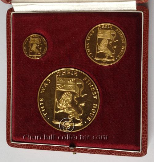 Churchill Medals in presentation case: Commemorative Medal Set of 3