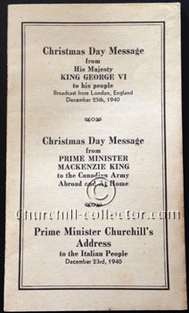 Pamphlet with 3 speeches: one by Winston Churchill - Address to the Italian People