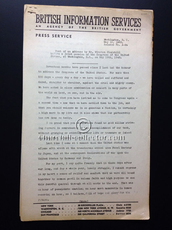 British Information Services: Text of speech Winston Churchill gave to Congress 1943