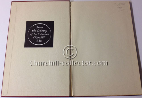 Open pages of the book, AN ADDRESS by WINSTON CHURCHILL, showing Churchill's bookplate