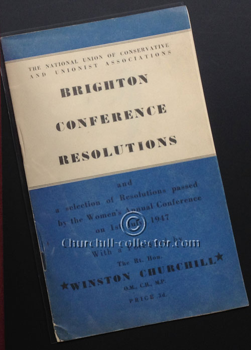 Brighton Resolution Conference pamphlet with Churchill's foreword - dated 1947