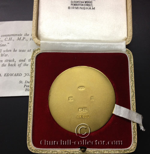 The back of the Large Churchill Memorial medal showing Hallmarks and numbering - 49/500