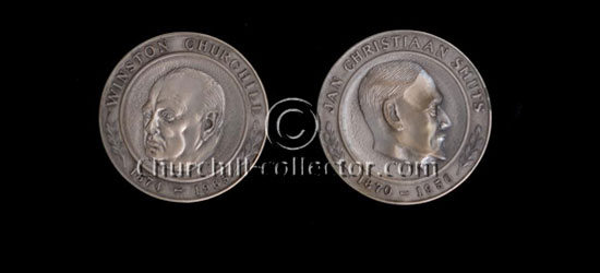 Churchill and Smuts on this silver medal dated 1966