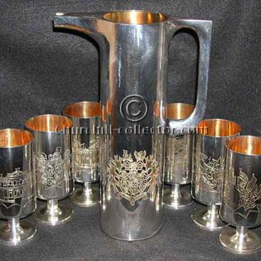 FOR SALE: Silverware, Churchill Centenary Jug & Goblets by Garrads –  $5,500.00