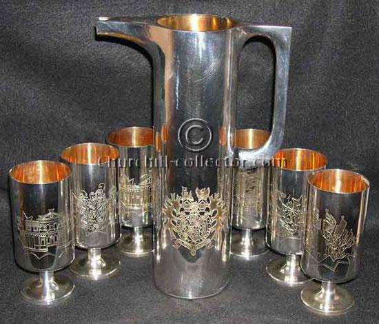 Silverware - Churchill Centenary Jug & Goblets - by Garrads